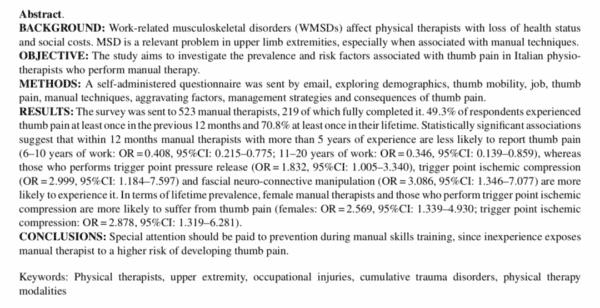 Dolore mano e pollice fisioterapista Articolo02