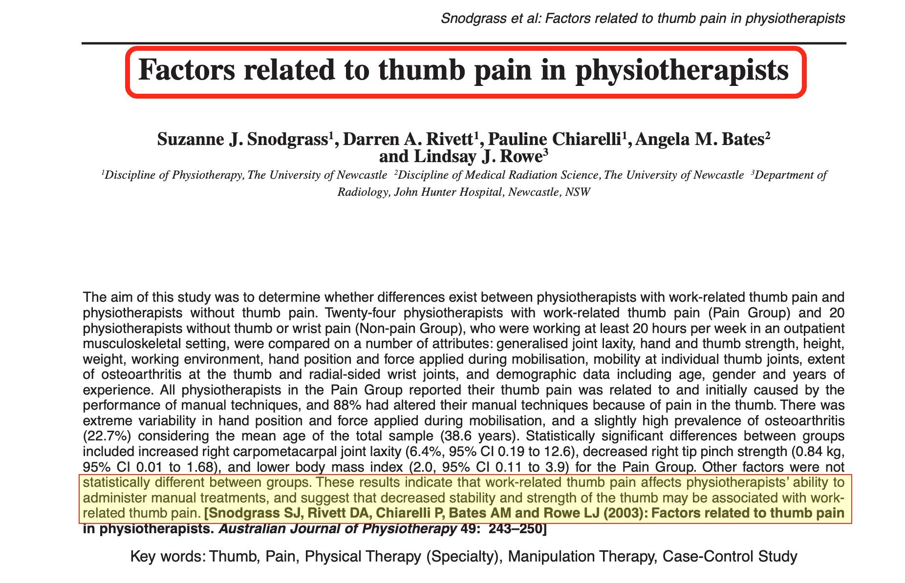 Studio Problemi mano Fisioterapisti Australian Journal of Physiotherapy 2003