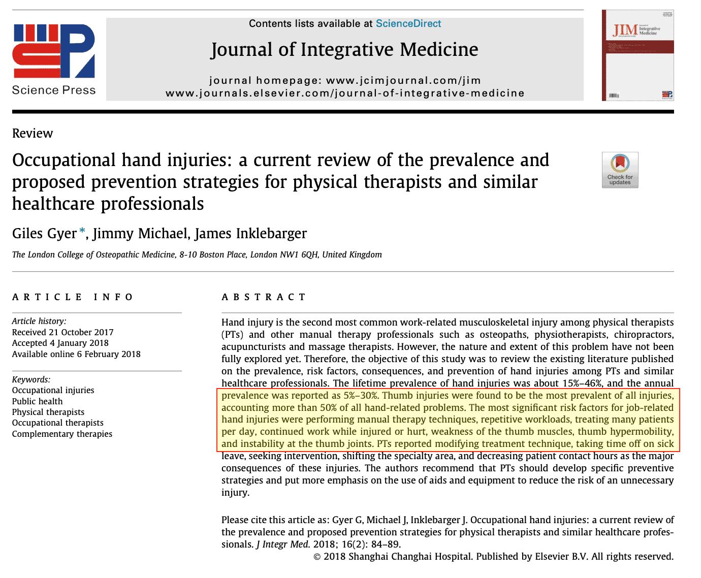 Studio Problemi mano Fisioterapisti Journal of Integrative Medicine