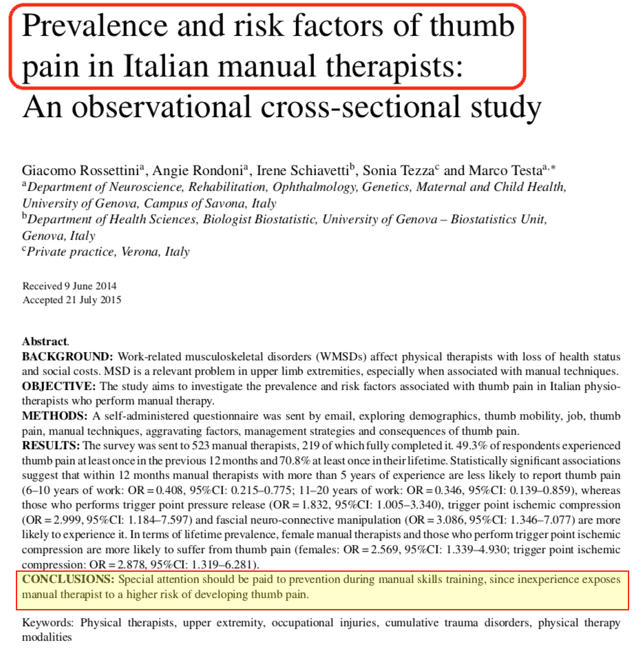 Studio Problemi Mano Fisioterapisti Italiani Prevalence and risk factors of thumb pain in Italian manual therapists - An observational cross-sectional study 01