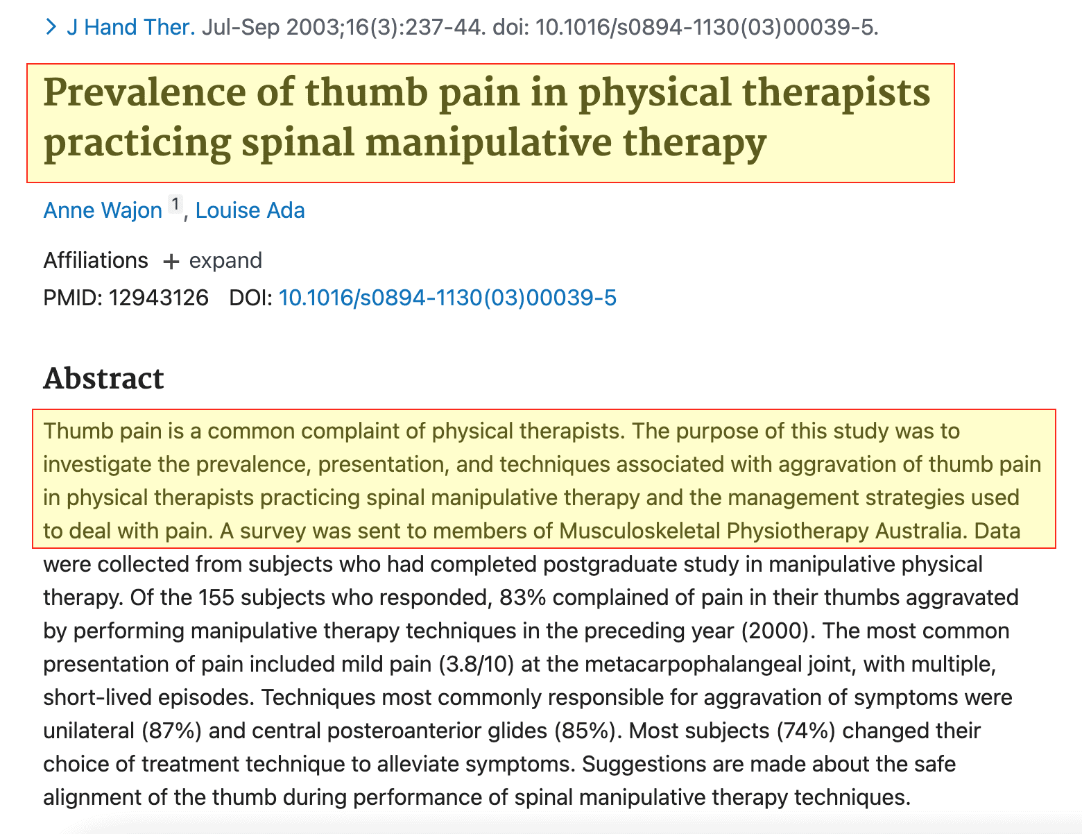 Studio Problemi mano Fisioterapisti Prevalence of thumb pain in physical therapists practicing spinal manipulative therapy - Journal Of Hand Therapy