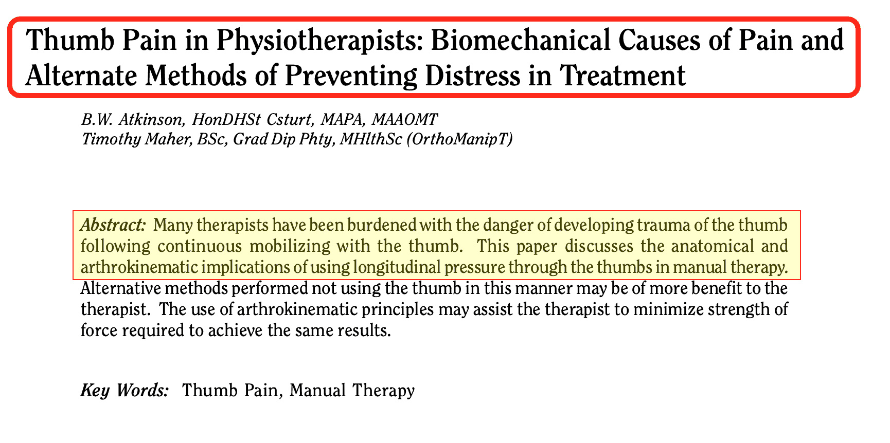 Studio Problemi mano Fisioterapisti Thumb Pain in Physiotherapists - Biomechanical Causes of Pain and Alternate Methods of Preventing Distress in Treatment - The Journal of Manual & Manipulative Therapy 2004