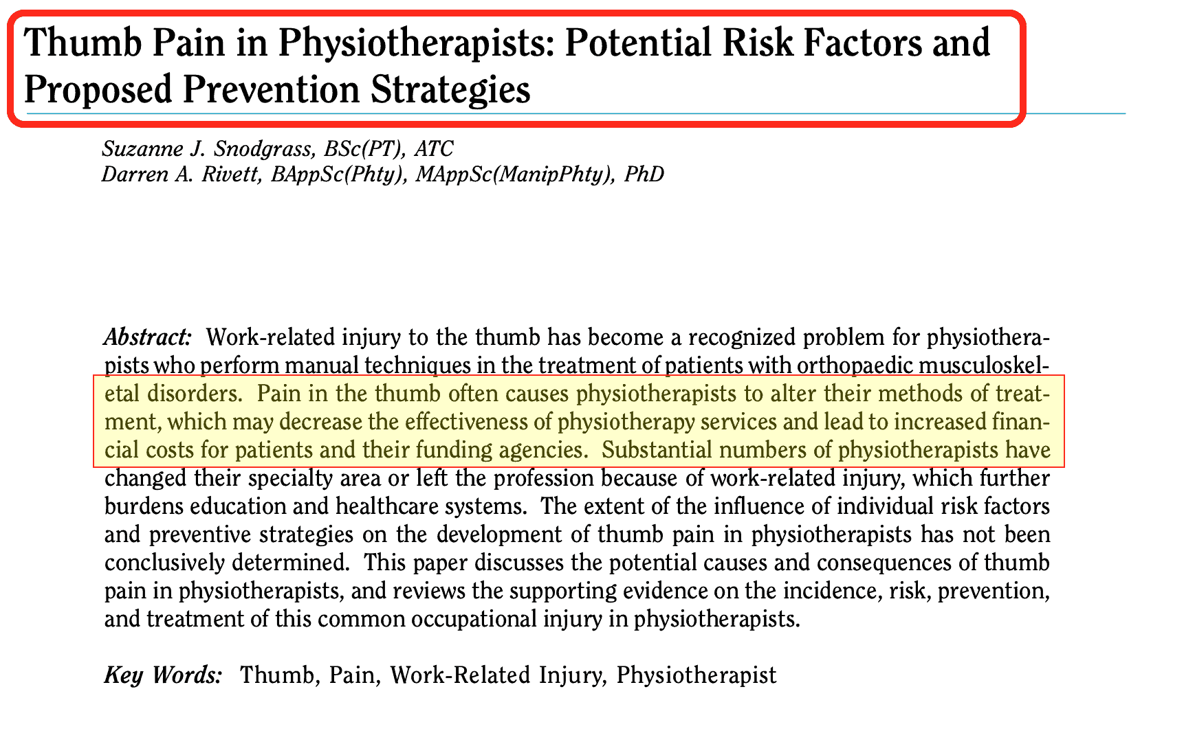 Studio Problemi mano Fisioterapisti Thumb Pain in Physiotherapists - Potential Risk Factors and Proposed Prevention Strategies - The Journal of Manual & Manipulative Therapy 2002