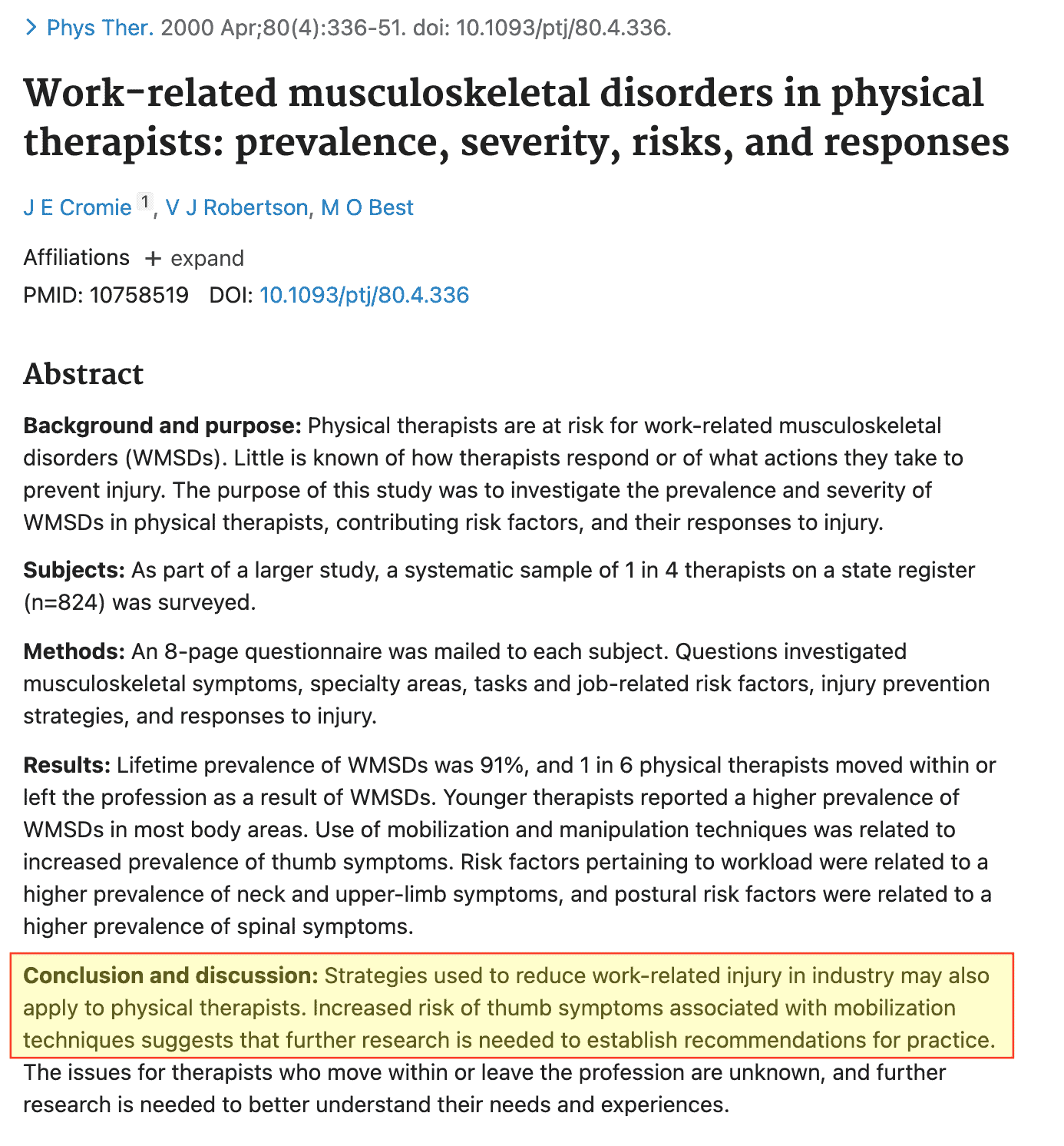 Studio Problemi mano Fisioterapisti Work-Related Musculoskeletal Disorders in Physical Therapists: Prevalence, Severity, Risks, and Responses PTrJ