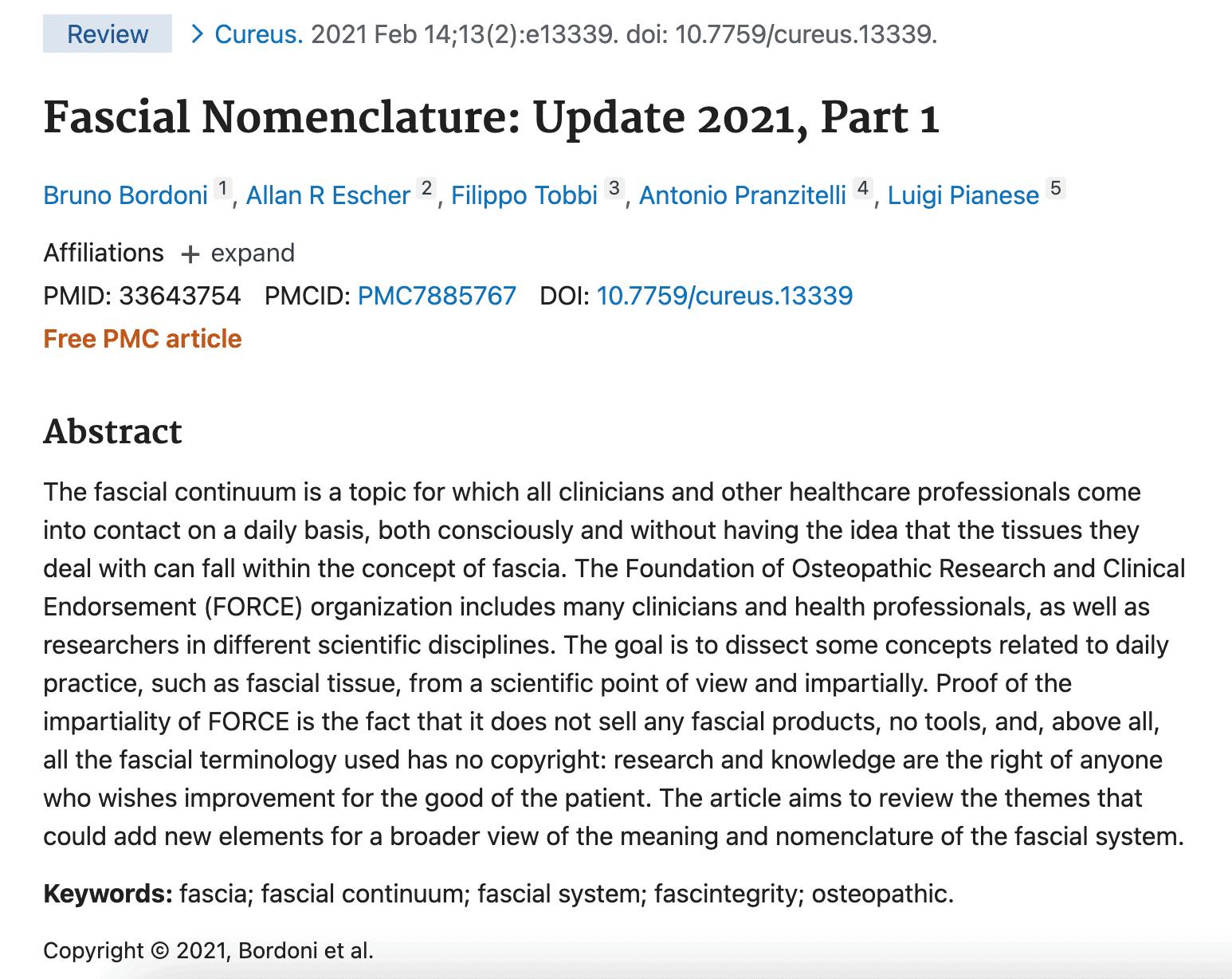 Fascial Nomenclature Update 2021 Part 1
